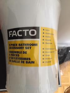 5 piece white bathroom accessories