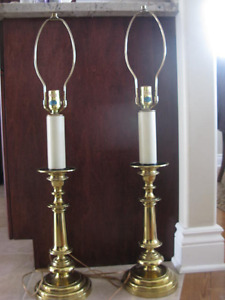 "pair solid brass table lamps  33"" tall"