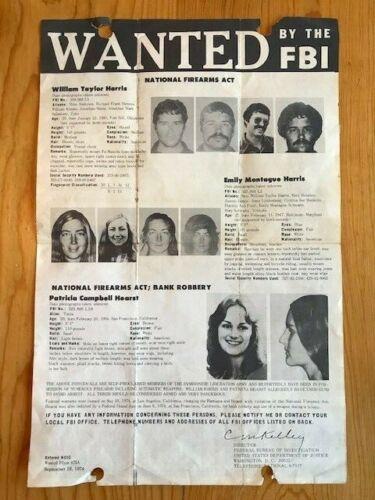 "Original Sept.1974 FBI Poster with William & Emily Harris & Patty Hearst-16x11"""
