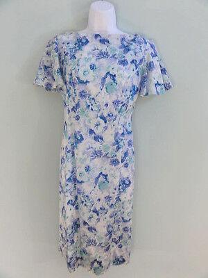Vintage 60s Sheath Dress Blue Floral Flutter Sleeves Pencil Skirt Cocktail XS
