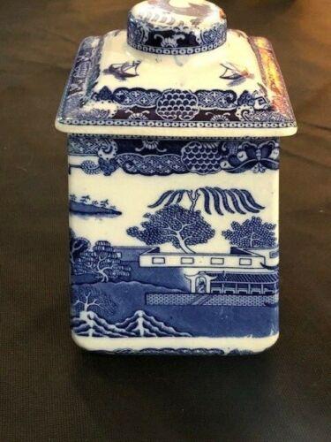 ringtons tea merchants blue willow tea caddy original 1920s not repro 8 in