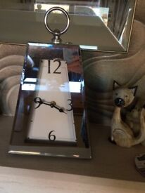 Chrome/mirror effect large mantle clock