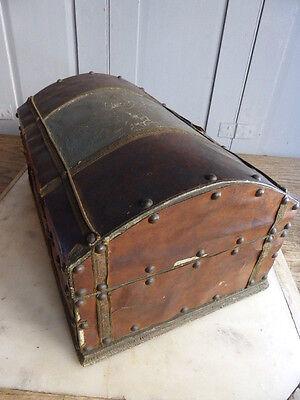 Antique small wooden trunk casket treasure chest