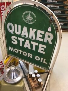 Quaker State Tombstone Sign with original stand