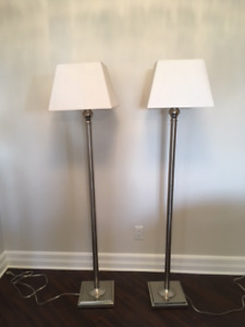 Two Matching Floor Lamps-  Brushed Nickel & White