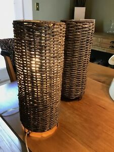 Gorgeous Rattan Woven Style lamps (38cm high, 15cm wide)