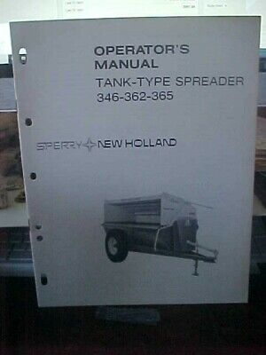 Om New Holland 346 362 365 Tank Type Spreader 1i