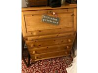 Pine Bureau / desk / chest of drawers