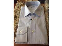 I145141U13R Extra Slim $375 Barba Napoli Blue Striped Shirt