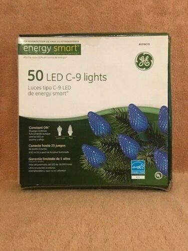 50 CT LED BLUE C9 CHRISTMAS LIGHTS BY GE