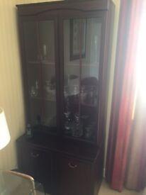 Dark Mahogany Display Cabinet - Excellent Condition