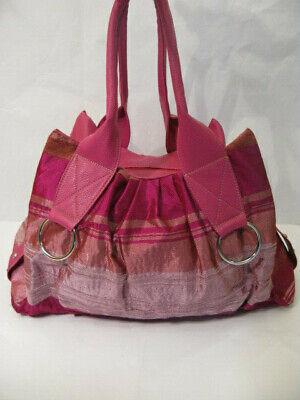 Gestreifte Damen Handtasche (Gestreifte Damenhandtasche, Shopper, Handtasche rosa pink Croissant)