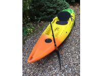 Perception Scooter sit on kayak yellow/orange/green, good condition with seat and paddle