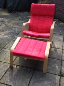 IKEA POANG ROCKING CHAIR AND FOOT STOOL (RED)