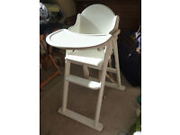 EAST COAST FOLDING HIGH CHAIR in white rubberwood with safety harness. Very strong and stable.