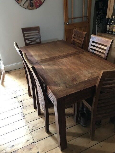 Dark Wood Extending Dining Table And 6 Chairs 160cm X 90cm But Extends To 220cm