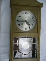 ANTIQUE GRANDFATHER WALL CLOCK Grey Wood, Trademark 555 Japan
