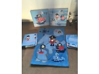 Boys Pirate bedroom complete set. From Next. All bedding, rug, curtains & pictures.