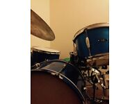 c&c c and c player date drums, drum kit 20 12 14 blue sparkle, gretsch ludwig camco slingerland