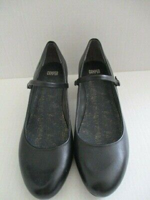 CAMPER 39 black leather Mary Jane shoes heel  1.75