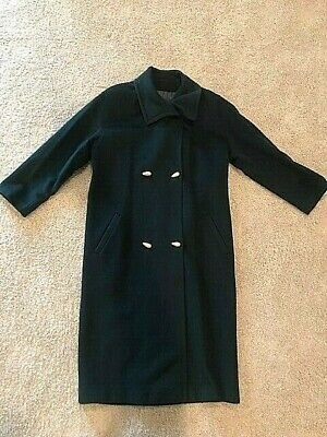 Ann Klein II Wool Trench Coat, Emerald Green, Toggle Buttons, Lined, Size L/XL