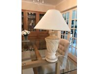 TABLE LAMP STONE BASE LIGHT WITH CREAM SHADE