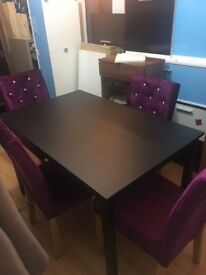 Black and Purple Dining set with 4 chairs