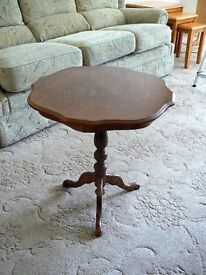 small occasional table dark wood with pattern inlay