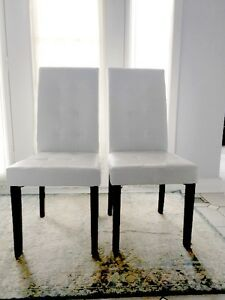 White Leatherette Parsons Chairs (2) with FREE table