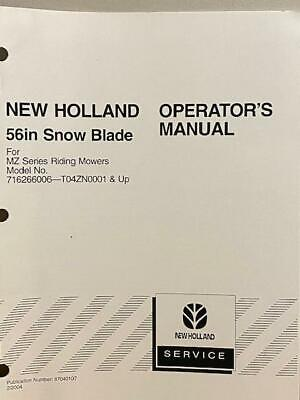 New Holland 56 Snow Blade Mz Series 716266006 T04zn0001 Up Operators Manual
