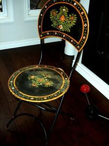 1800s VICTORIAN garden folding chair HAND PAINTED wrought iron