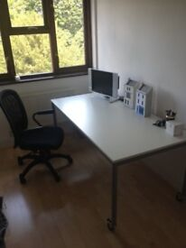 IKEA White desk with steel frame