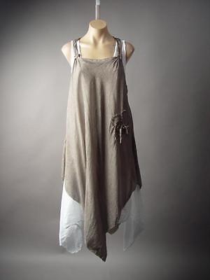 Lagenlook Made In Italy Victorian Mori Girl Prairie Boho Pinafore 199 mv Dress