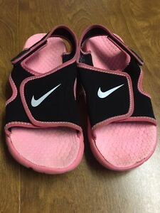 Size 4 Youth NIKE Adjust Sunray Sandals for Girls.