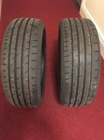 Continental 205/45 R17 run flat tyres, excellent condition, two available