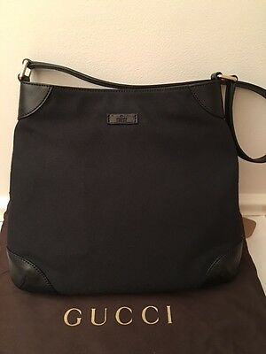 NWT New Gucci Canvas Shoulder Bag Handbag Leather Trim Black