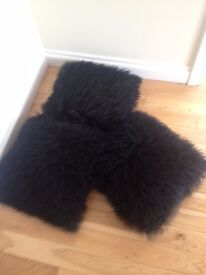 3 GENUINE MONGOLIAN FUR & SUEDE SCATTER CUSHIONS IN BLACK