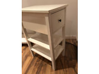 White wooden side table/ TV table with draw