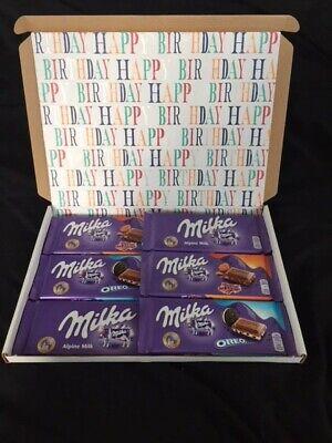Milka Chocolate Happy Birthday Hamper Gift Box 6 x 100g Bars Oreo...
