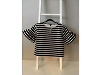 J Crew Black & Cream Top with Bell Sleeve - Size Small