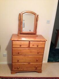 Antique Pine Chest of drawers with vanity mirror
