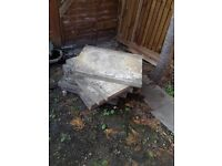 Free: old concrete slabs + old shed 6' x 4'