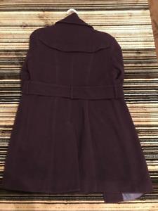 Kenneth Cole Womens Wool Coat in Aubergine Purple - Size 10