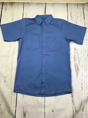New ! Work Shirt Industrial 100% Cotton Light Blue  Short Sleeve Two Pockets