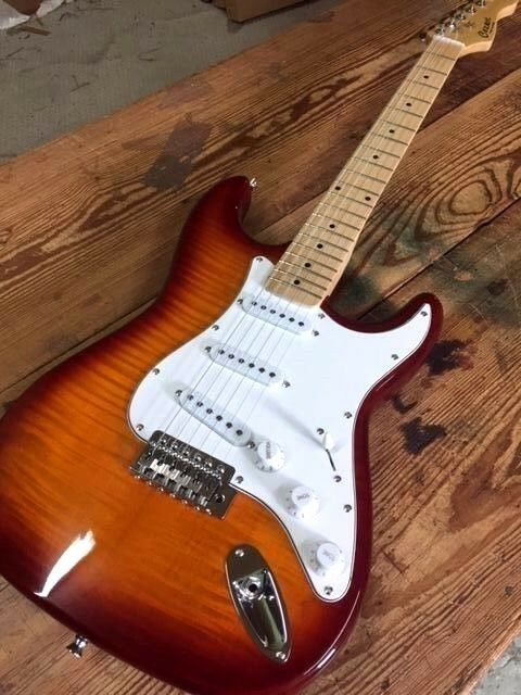 Купить COZART - NEW FLAME MAPLE BURST STRAT STYLE 6 STRING ELECTRIC GUITAR