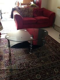 Two tier glass black coffee table