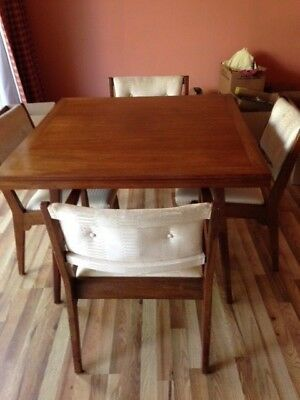 Early Jens Risom Mid-Century Modern  Dining/card Table with 4 chairs