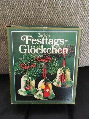 Vintage German glass bells * 5 - Christmas hanging tree decorations