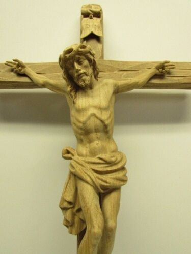 """20"""" Dolomite Crucifix Carved in Oak - by Salcher Woodcarvings - All Natural Wood"""