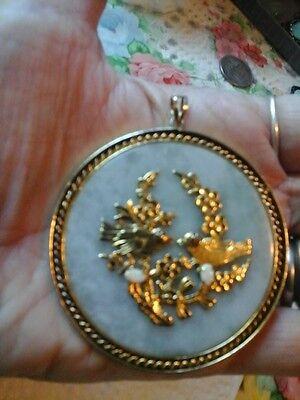 Chinese   pendant jade /opal metal base antique